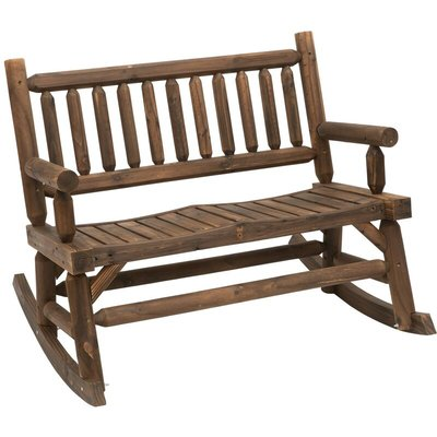 2-Seat Rocking Bench Wood Frame Rough-Cut Log Loveseat Dark Brown - Outsunny