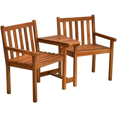 2 Seat Wood Double Chair w/ Middle Table Slatted Bench Garden Seat - Outsunny