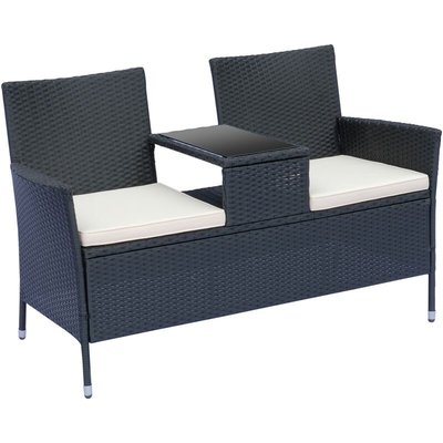 2 Seater Rattan Companion Chair Wicker Loveseat with Drink Table - Black - Outsunny
