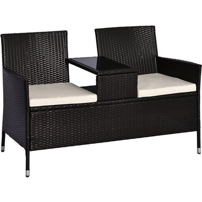 Outsunny 2 Seater Rattan Companion Chair Wicker Loveseat with Drink Table - Dark Brown