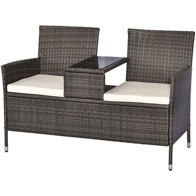 2 Seater Rattan Companion Chair Wicker Loveseat with Drink Table - Grey - Outsunny