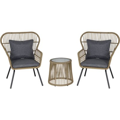 3 PCS Webbed PE Rattan Outdoor Patio Set w/ Cushions Steel Frame Brown - Outsunny
