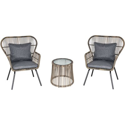 3 PCS Webbed PE Rattan Outdoor Patio Set w/ Cushions Steel Frame Grey - Outsunny