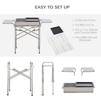 Stainless Steel BBQ Grill w/ Removable Base Side Table Outdoor Cooking - Outsunny