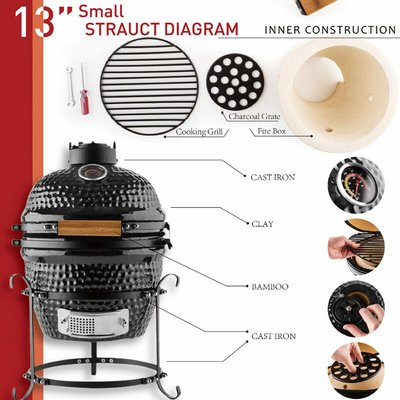Outsunny Cast Iron & Enamel BBQ Grill w/ Thermometer Locking Lid Outdoor Black
