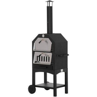 Outsunny Charcoal Pizza Oven 2-Tier Freestanding Outdoor BBQ Grill w/ Chimney