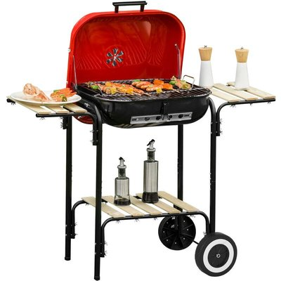 Charcoal Steel Grill Portable BBQ Outdoor Garden w/ Wheels Wood Shelves Red - Outsunny