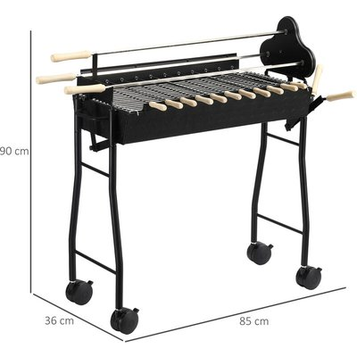 Outsunny Charcoal Trolley BBQ Garden Cooking Grill w/ Wheels 85L x 36W x 90H (cm)