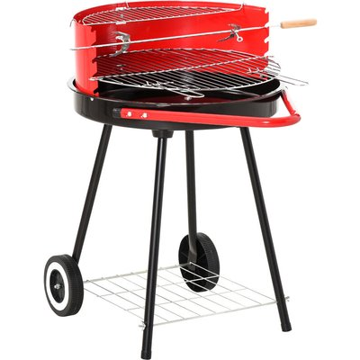 Outsunny Charcoal Trolley BBQ Garden Cooking Grill w/ Wheels 67L x 51W x 82H (cm)