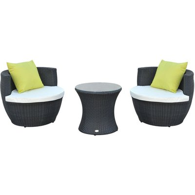 Conservatory Patio Rattan Furniture Vase Chair Set Stackable - Black - Outsunny