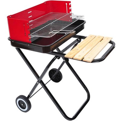 Outsunny Foldable Charcoal Trolley BBQ Barbecue Grill w/ Wheels - Red/Black
