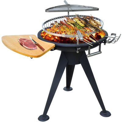 Garden Barbecue Double Grill Patio Firepit Outdoor Party Charcoal BBQ Cooking Wood Burning Brazier Stove Heater Height Adjustable w/ Cutting Board