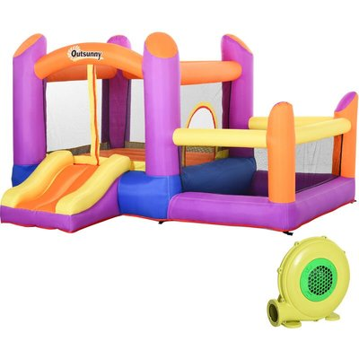 Outsunny Kids 2-House Bouncy Castle House Inflatable Trampoline Slide 3-12 Yrs