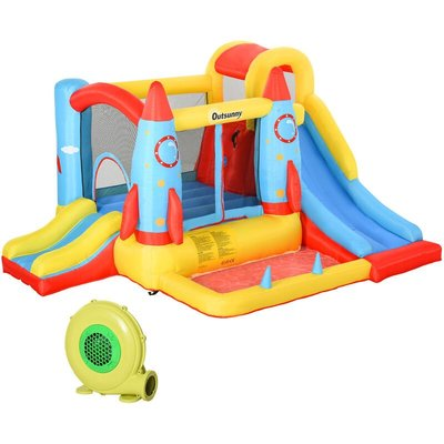 Kids 3-in-1 Bouncy Castle House Inflatable Trampoline Slide 3-12 Yrs - Outsunny