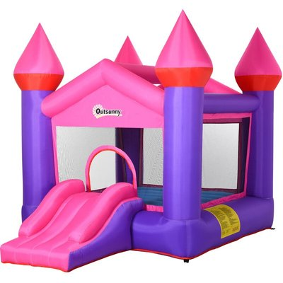 Kids Bouncy Castle House Inflatable Trampoline House Slide 3-12 Yrs - Outsunny