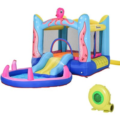 Kids Bouncy Castle Slide & Swimming Pool Combo House 3-12 Yrs - Outsunny