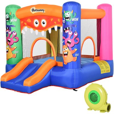 Outsunny Kids Fun Monster Bouncy Castle House Inflatable w/ Slide 3-12 Yrs