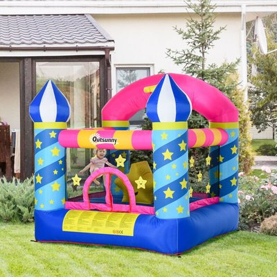 Kids Star-Covered Bouncy Castle House Inflatable Castle 3-12 Yrs - Outsunny