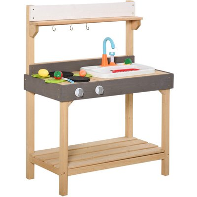 Outsunny Kids Wood Frame Kitchen Role Play Set w/ Water Tap Sink Dish 3+ Yrs
