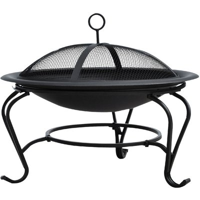 Outdoor Metal Fire Pit Round Firepit Wood Burning Heater Mesh Lid Garden Stove Patio Brazier w/ Poker Dia.56cm - Outsunny