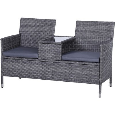 PE Rattan Duo Seat Table Bench w/ Padded Cushions Glass Tabletop Grey - Outsunny