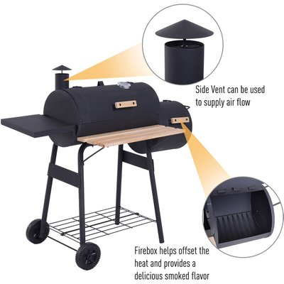 Portable Charcoal BBQ Grill Steel Offset Smoker Combo Outdoor Barbecue Garden - Outsunny