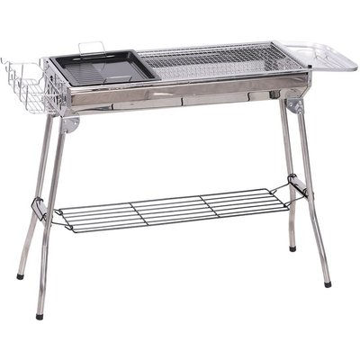 Portable Folding Charcoal BBQ Grill Stainless Steel Camp Picnic Cooker - Outsunny