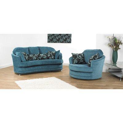 Designer Sofas 4 U - Paris 2 + swivel Fabric Sofa