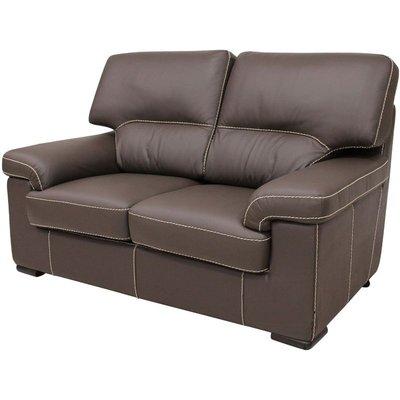 Designer Sofas 4 U - Patrick Contemporary 2 Seater Sofa Chocolate Brown Italian Leather