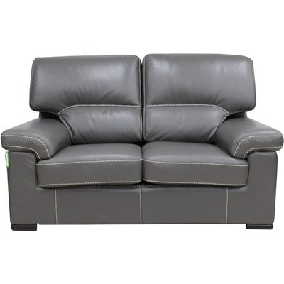 Designer Sofas 4 U - Patrick Contemporary 2 Seater Sofa Grey Italian Leather