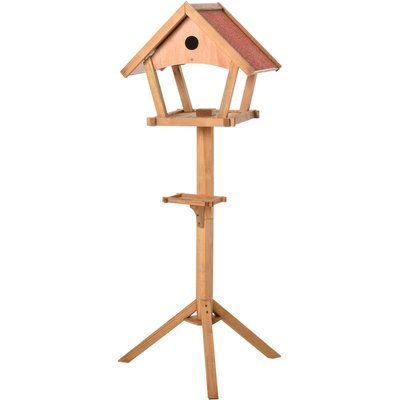 PawHut Freestanding Wooden Bird Feeder Table w/ Nesting Hole Decorative