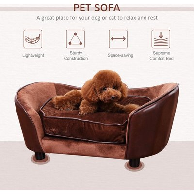 Luxury Pet Sofa Dog Bed Chair Puppy Cat Kitten Soft Mat Home Indoor Couch House w/ Cushion Coffee (Large) - Pawhut