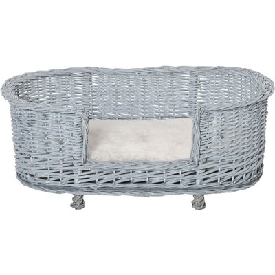 Wicker Dog Bed Basket Pet Sofa Lounge Furniture w/ Base Cushion 92x52cm - Pawhut