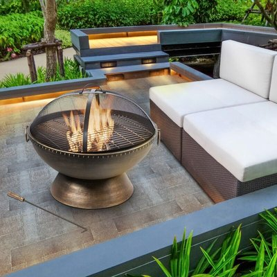 Firepit Outdoor Wood Burning Fire Pit Steel BBQ Grill Poker HR30701AA - Peaktop