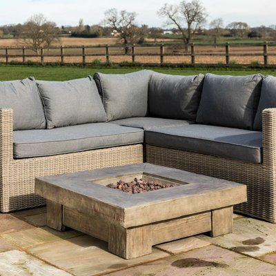 OTT Garden Firepit Outdoor Gas Fire Pit Wooden With Lava Rock & Cover