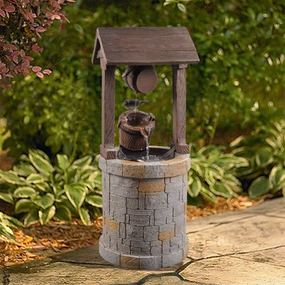 Peaktop Outdoor Garden Patio Decor Wooden Well Water Fountain Feature VFD8212-UK