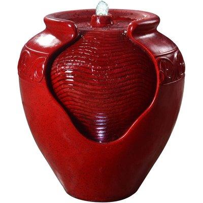 Water Fountain Indoor Conservatory Garden Red With Lights YG0034AZ-UK - Peaktop