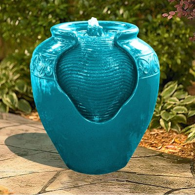 Water Fountain Indoor Conservatory Garden Teal With Lights YG0037AZ-UK - Peaktop