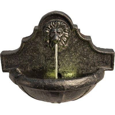 Peaktop Outdoor Garden Patio Wall Lion LED Water Fountain Feature VFD8433-UK