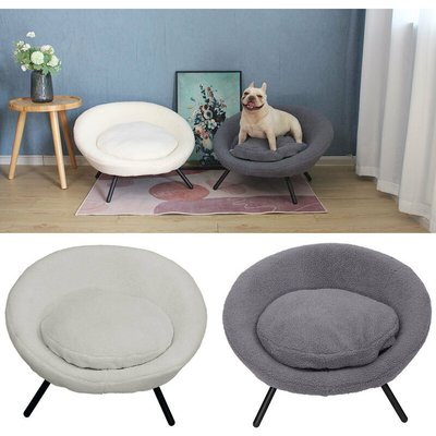 White Pet Bed Cat Kitten Dog Puppy Sofa Couch Hideaway House With Cushion Nest - LIVINGANDHOME