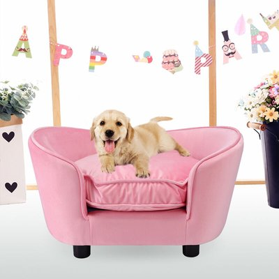 Pet Couch Dog Cat Wooden Sofa Bed Lounge Luxury Cushion - Pink - LIVINGANDHOME