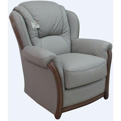 Designer Sofas 4 U - Pisa Armchair Italian Leather Sofa Settee Offer Light Grey