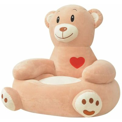 Plush Children's Chair Bear Brown - YOUTHUP