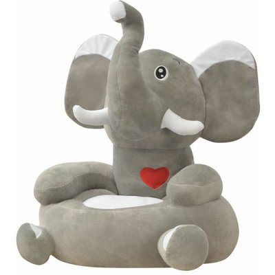Youthup - Plush Children's Chair Elephant Grey