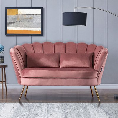 Plush Velvet Scalloped Shell Lotus 2 Seater Sofa, Pink - LIVINGANDHOME