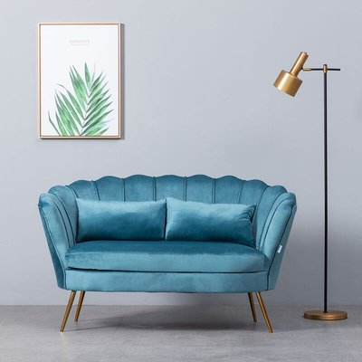 Plush Velvet Scalloped Shell Lotus 2 Seater Sofa, Light Blue - LIVINGANDHOME