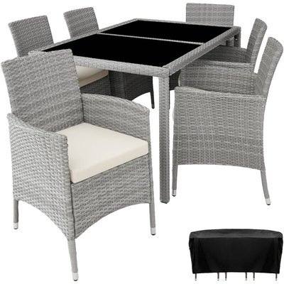 Rattan garden furniture set Lissabon 6+1 with protective cover - garden tables and chairs, garden furniture set, outdoor table and chairs - light grey