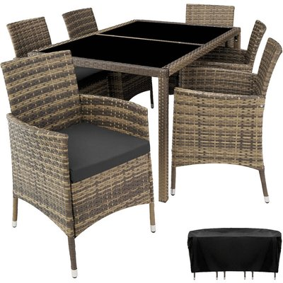 Rattan garden furniture set Lissabon 6+1 with protective cover - garden tables and chairs, garden furniture set, outdoor table and chairs - nature