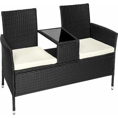 Tectake - Garden bench with table poly rattan - love seat, patio set, garden set - black