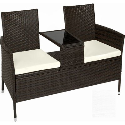 Garden bench with table poly rattan - love seat, patio set, garden set - brown
